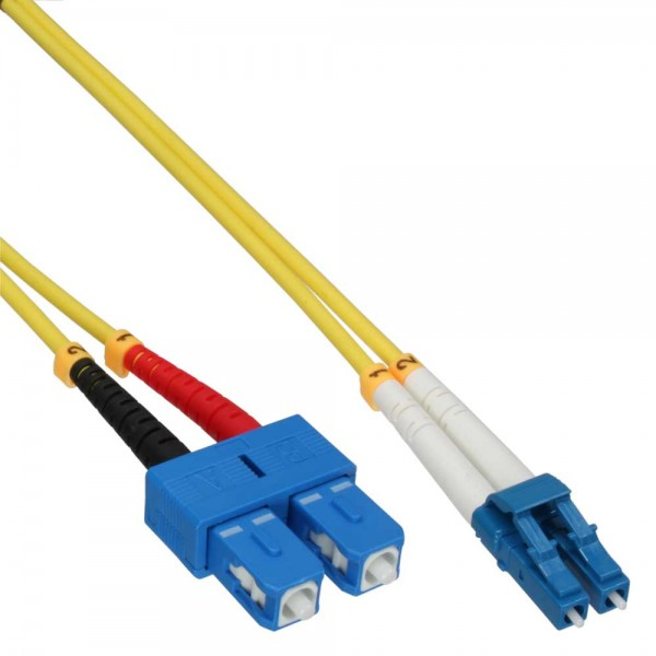 InLine® LWL Duplex Kabel LC/SC 9/125µm, OS2, 5m