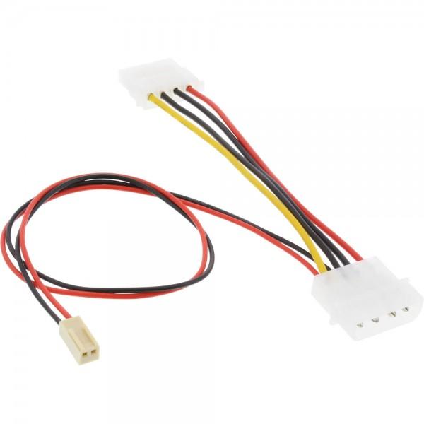 "InLine® Mainboard Adapterkabel, 2pol Molex Buchse an 5,25"" Y-Doppelstecker, 0,3m"