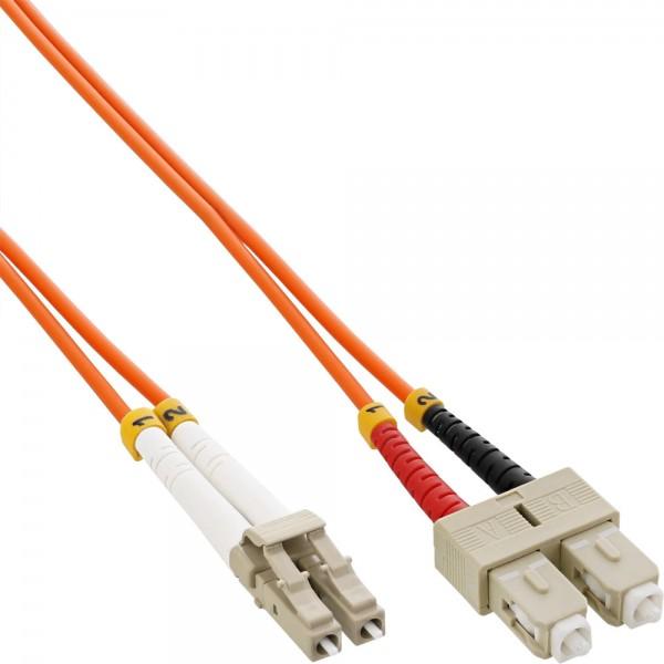 InLine® LWL Duplex Kabel, LC/SC, 50/125µm, OM2, 15m
