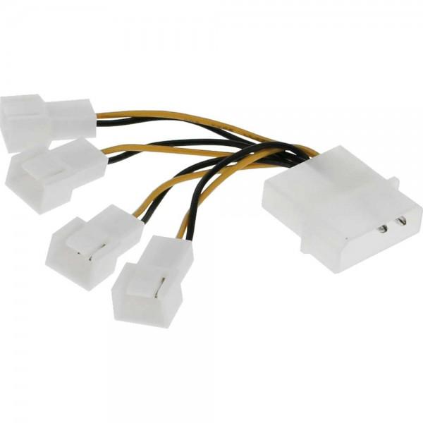 """InLine® Lüfter Adapterkabel, 4x Lüfter 3pol. an 13,34cm (5,25"""")"""