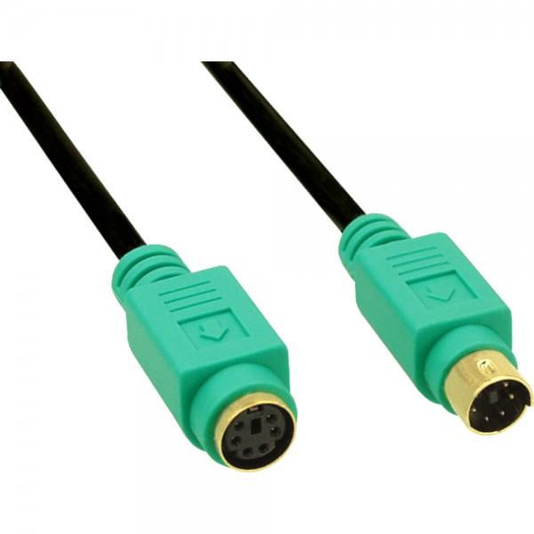 InLine® PS/2 Verlängerung, Stecker / Buchse, PC99, Kabel schwarz, Stecker grün, Kontakte gold, 5m