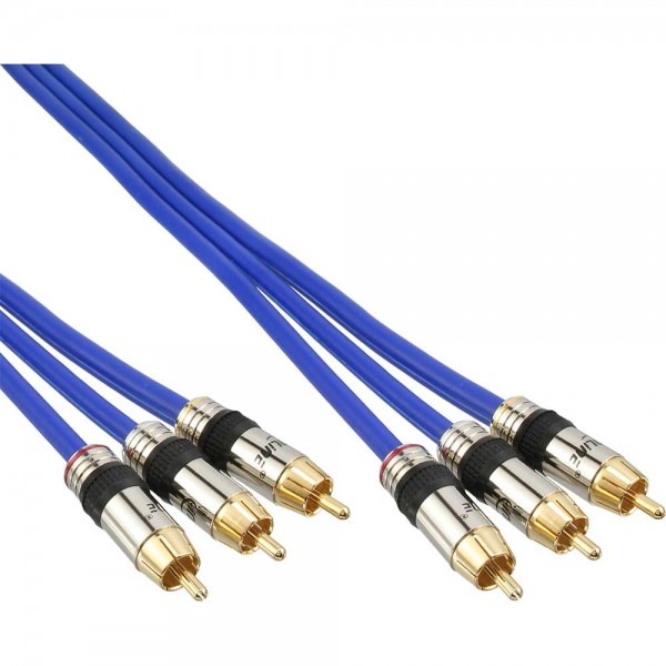 InLine® Cinch Kabel AUDIO/VIDEO, PREMIUM, vergoldete Stecker, 3x Cinch Stecker / Stecker, 1m