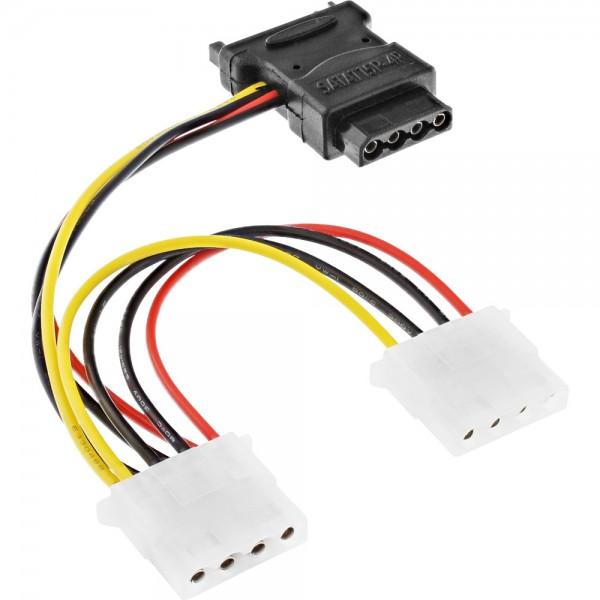 """InLine® SATA Stromadapterkabel, SATA Buchse an 3x 13,34cm (5,25"""") Stecker, 0,15m"""