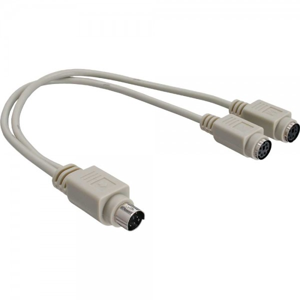 InLine® PS/2 Y-Kabel, Maus+Tastatur an Notebook
