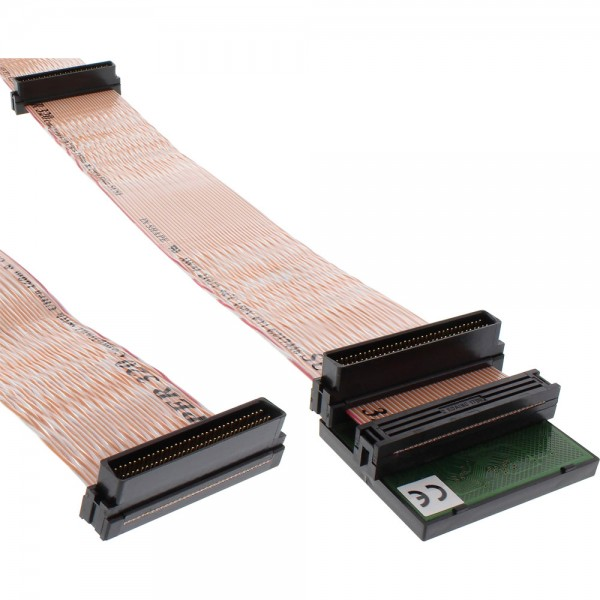 InLine® SCSI U320 Flachbandkabel, 68pol, 3 Abgriffe, für 2 Geräte, mit Terminator