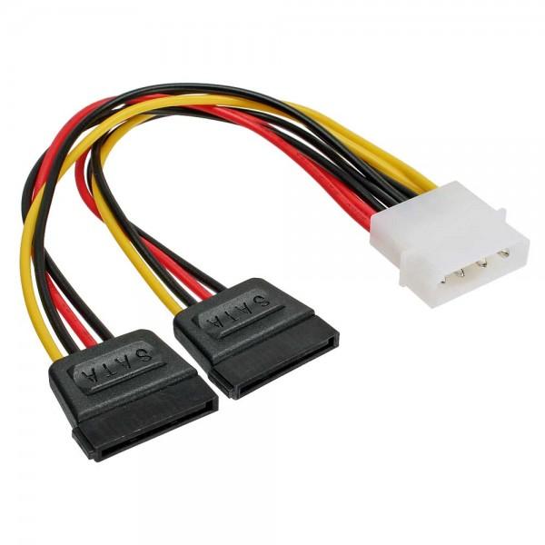 "InLine® Strom Y-Kabel intern, 1x 13,34cm (5,25"") an 2x 15pol SATA, 0,2m"