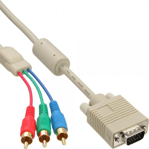 InLine® VGA RGB Kabel, VGA Stecker an 3x Cinch Stecker, 5m