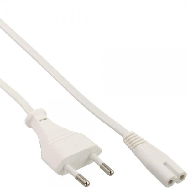 InLine® Netzkabel, Netzstecker auf Euro 8 C7 Stecker, weiß, 1,5m