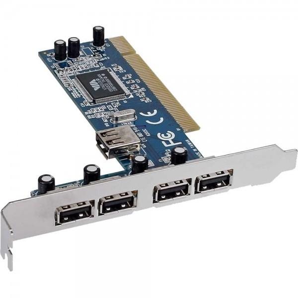 InLine® Schnittstellenkarte, USB 2.0, 4x extern + 1x intern, PCI