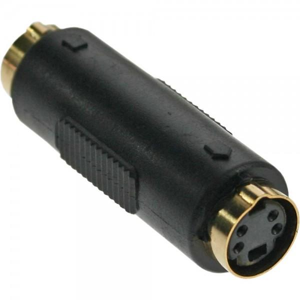 InLine® S-VHS Kupplung, 4pol Mini Din Buchse / Buchse, vergoldete Kontakte