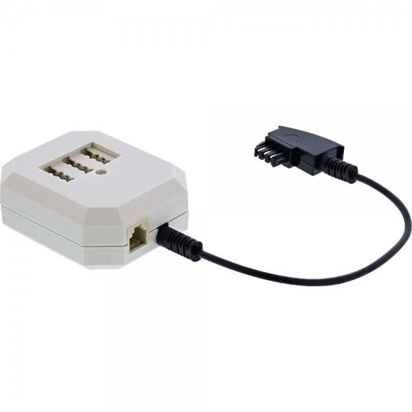 InLine® TAE Adapter, TAE-F Stecker an TAE NFF + RJ11 (6P4C) Buchse, 0,2m